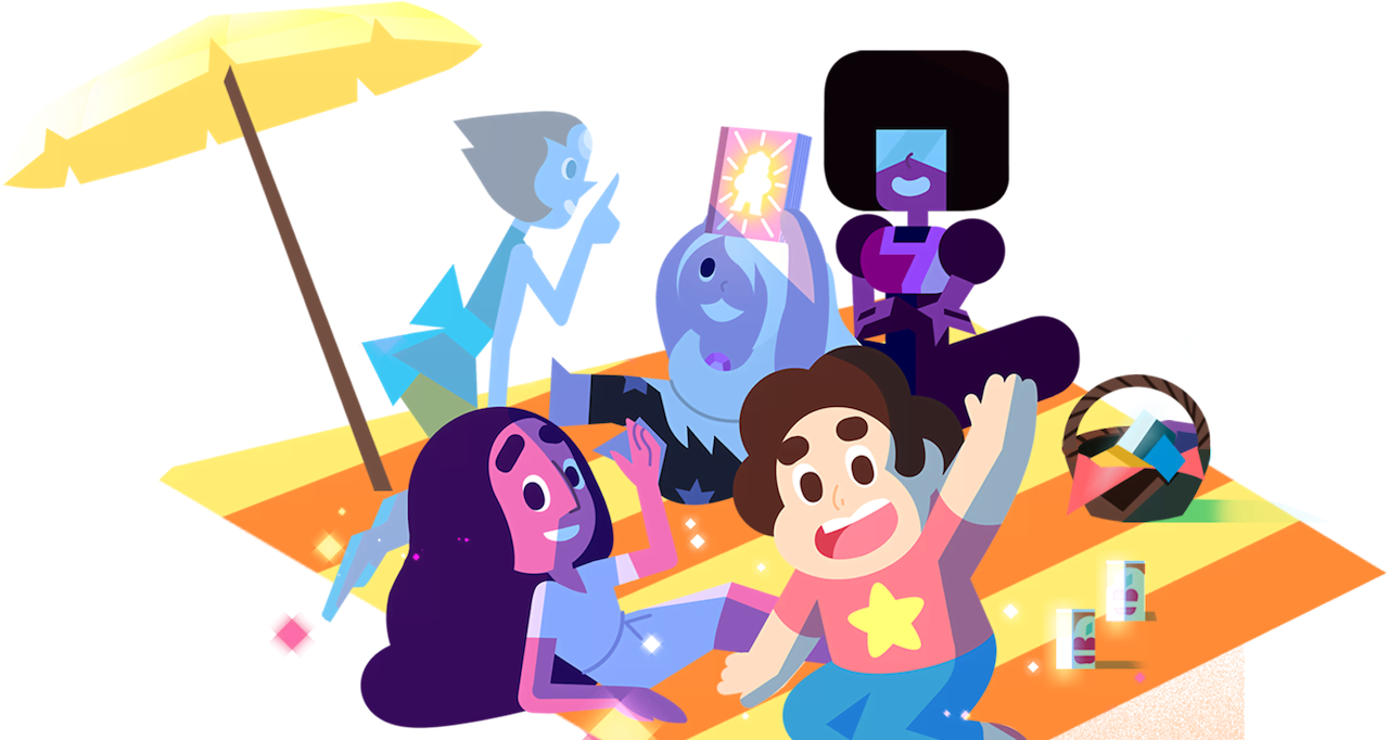 Steven Universe characters sitting on the beach